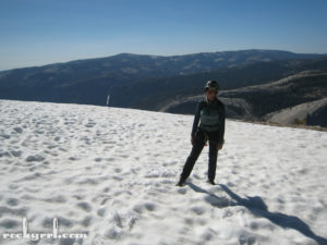 Me on snow patch on Half Dome